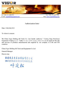 China Vigor Authorization Letter